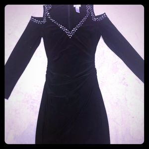 Black Mini Dress with Silver studs